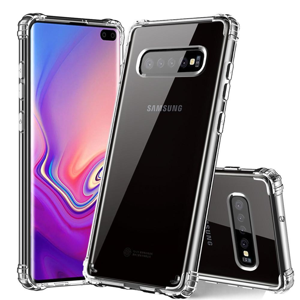 Para samsung s10 case de luxo mais novo claro macio tpu quadro rígido pc casos de telefone tampa traseira para samsung s10plus s10e