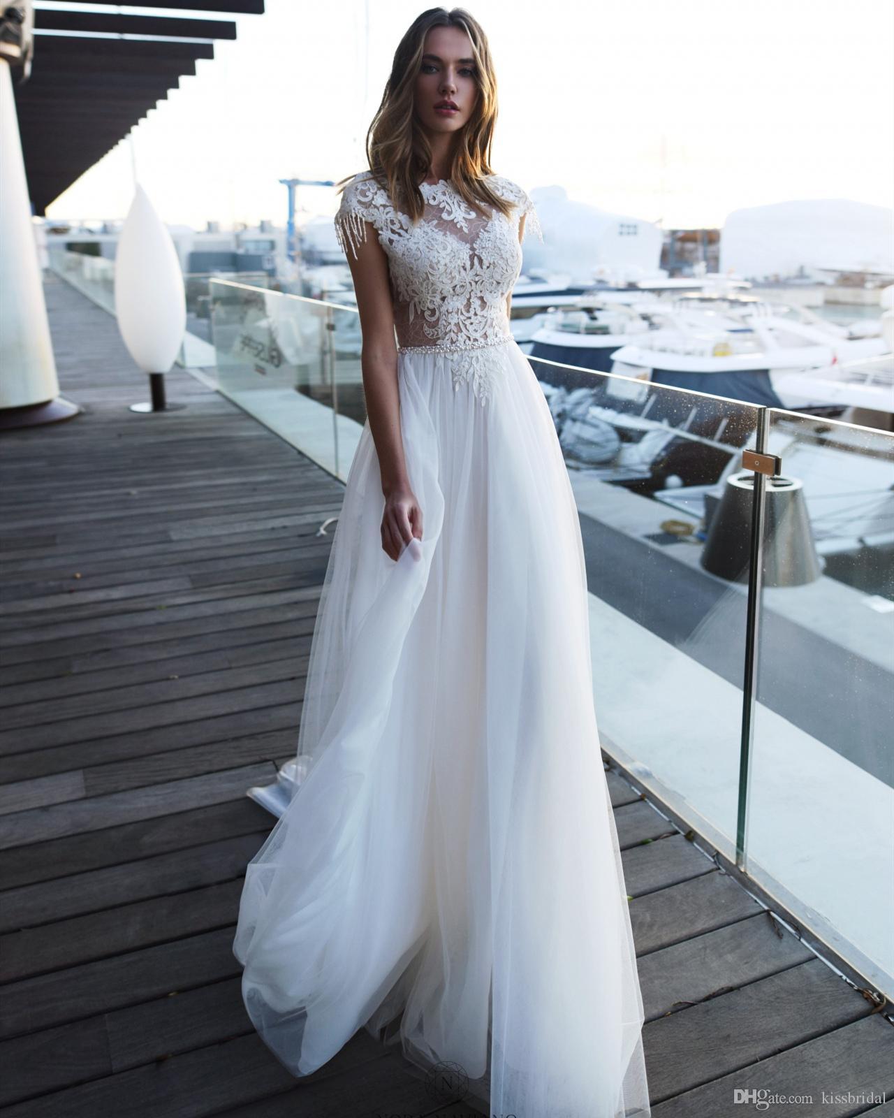 JNew Design Boho Wedding Dress 2020 Bateau Neck Sleeveless A-Line Court Train Beading Appliques Tulle Bride Gowns Vestidos de novia Robe