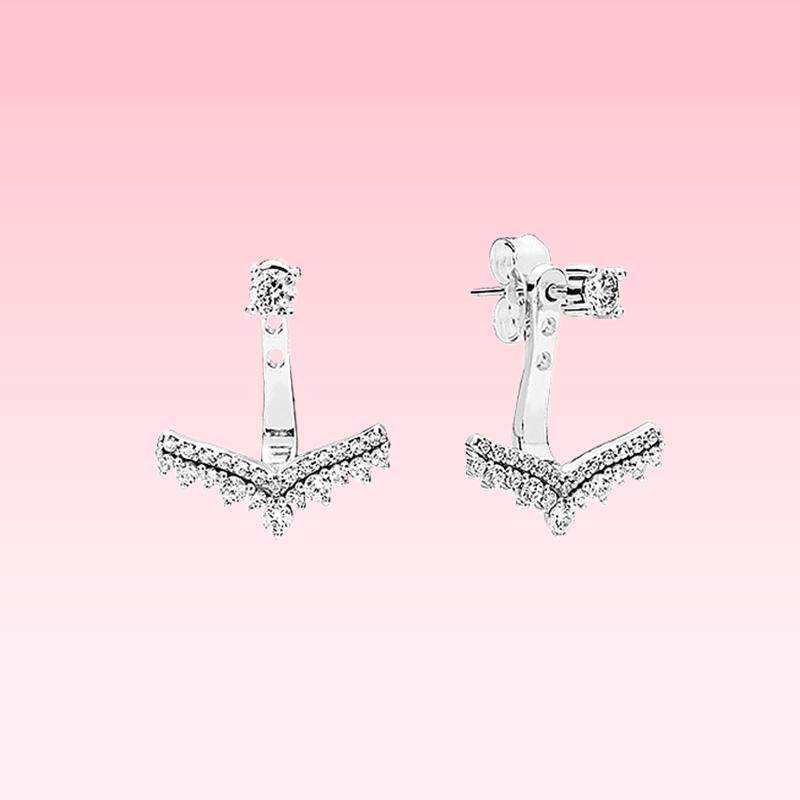 Orijinal kutusu ile Pandora 925 Gümüş Prenses dilek kemik Stud küpe için güzel cz elmas kolye Küpe Kadınlar Yaz Takı