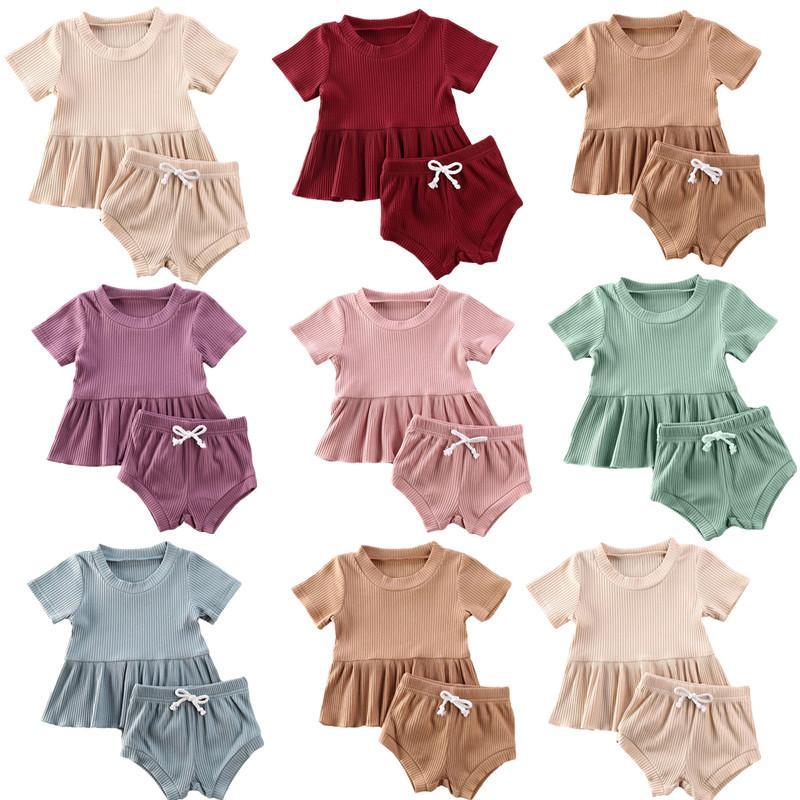 0-24M Yenidoğan Bebek Kız Giyim Bebek Bebek Kız Erkek Giyim Katı Kısa Kollu T Gömlek ayarlar + Şort Pantolon 2parça Tops