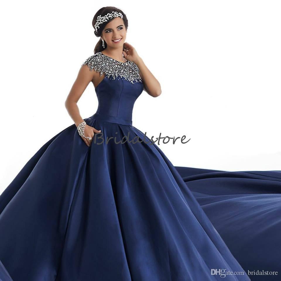 Lindo Azul Marinho Vestidos de Baile Jóia Pescoço Manga Comprida Puffy quinceanera vestidos Beading Keyhole Sem Encosto Vestido de Noite Formal robes de soirée