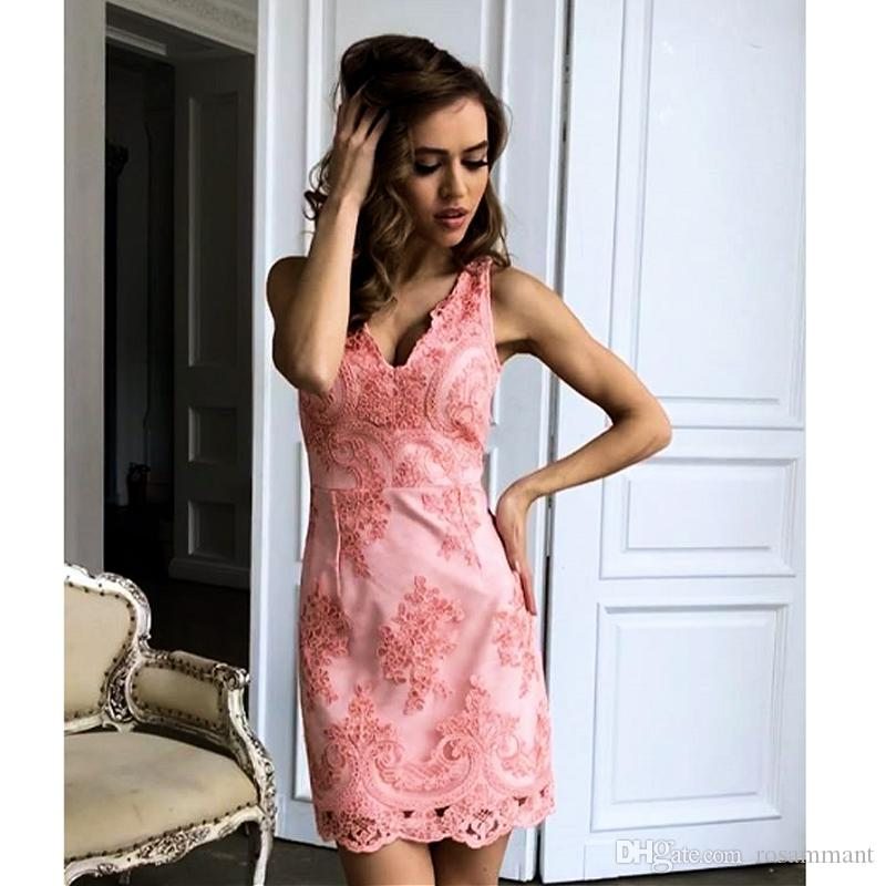 Newest short prom dresses Lace Sex Cooktail Dresses Pink Sheath Homecoming Dresses V Neck Custom Made