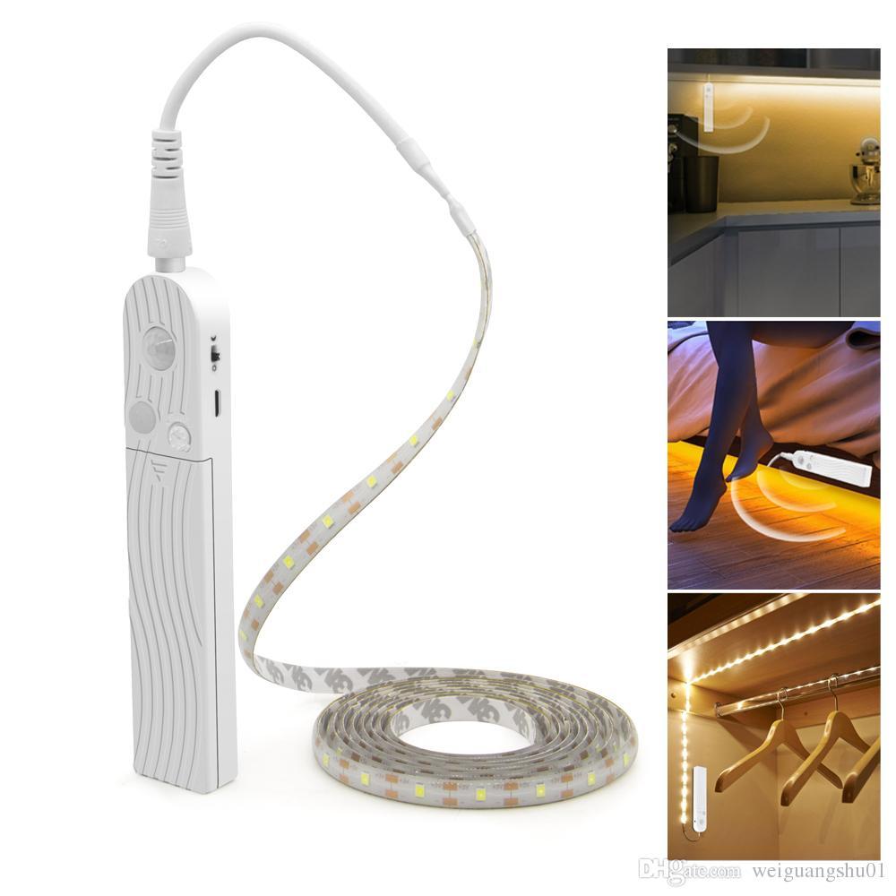 Hareket Sensörü LED Kabine Işık 1 M 2 M 3 M Altında Yatak Merdiven Dolap Lambası Bant Su Geçirmez 5 V USB LED Şerit Dolap Gece Lambası