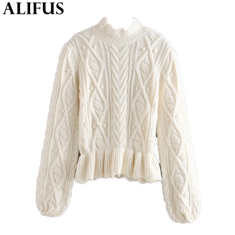 Moda Mujeres Suéteres 2020 Dulce Sólido Decoración arco O-Cuello Casual manga larga suelta de tejer suéter suéter de los puentes Tops