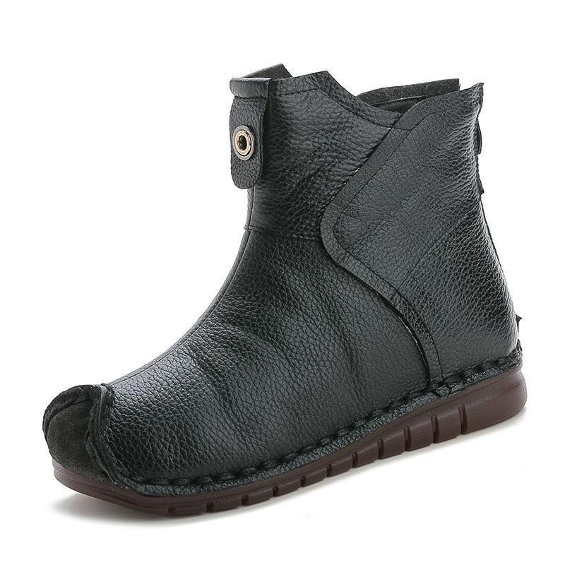 Di vendita calda nuovo autunno e inverno stivali donne scarpe retrò in pelle di mucca stivali antiscivolo scarpe morbide Comfort Plus velluto donne piatte
