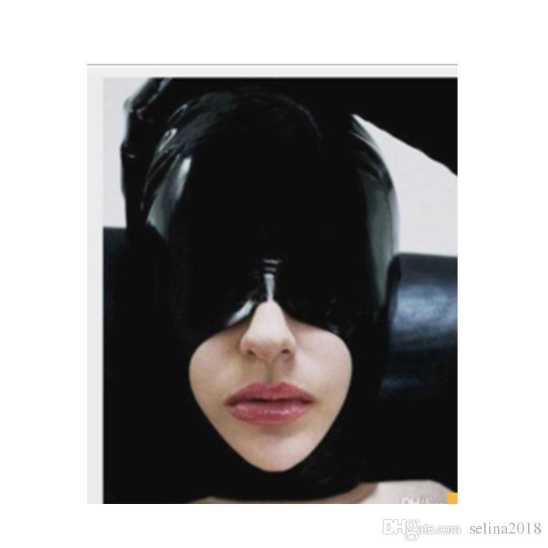 Fermer les yeux Nouveau Cagoule transparente en latex avec masque et masque fétiche, avec bouche et menton ouverts, sans fermeture à glissière au dos