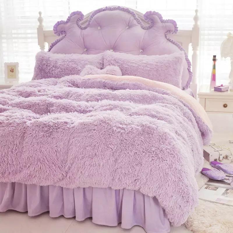 Set di biancheria da letto in cashmere Fuschia matrimoniale King Size Winter Supersoft Set di biancheria da letto calda in casa Set copripiumino in fleece di corallo