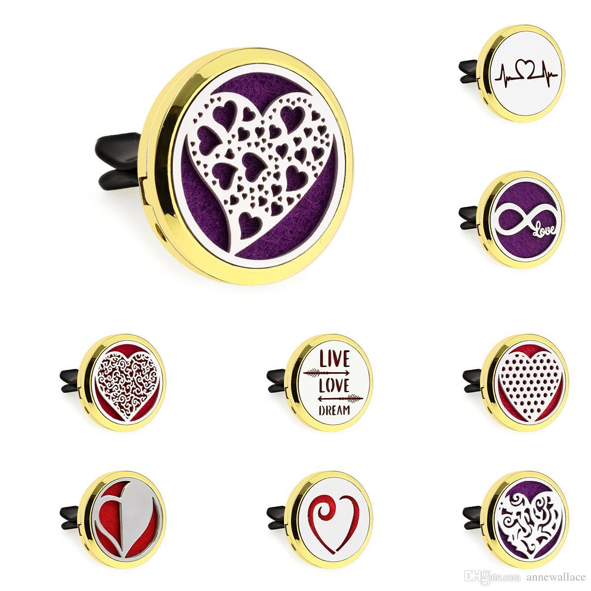 30mm or Aimant Coeur formes Diffuseur Huile Essentielle Parfum De Voiture Médaillon Vent Clip Désodorisant De Voiture 10pcs tampons gratuits