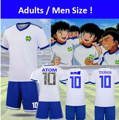 Men Euro size! Camisetas Maillot de Foot Three lines Captain Ozora Tsubasa japan football kits Oliver Atom y benji soccer jerseys Atton