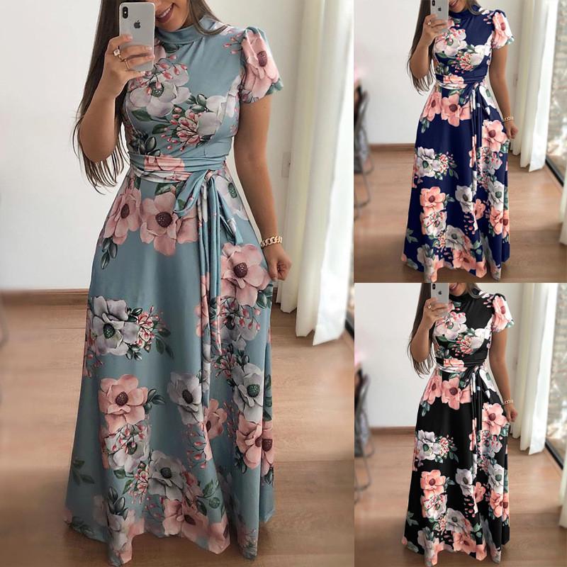 Partido do clube nocturno Mulheres Long Maxi vestido do verão de Boho Floral Estilo Beach Dress Casual manga curta Bandage Partido Vestidos Vestidos Plus Size