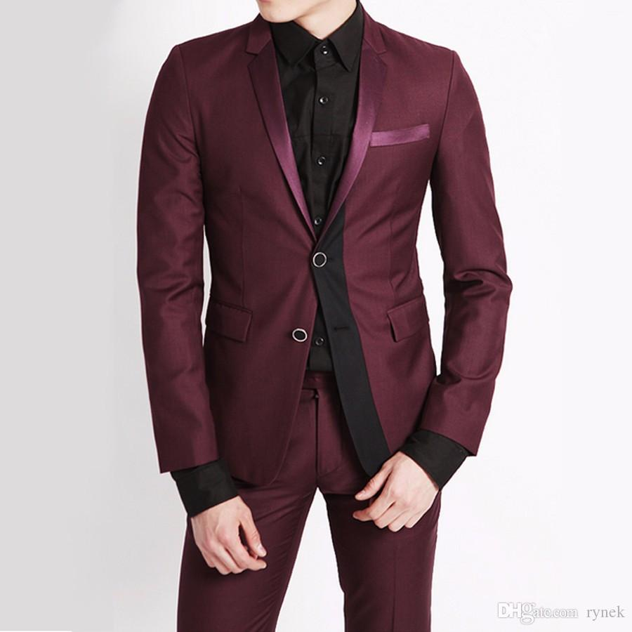 Custom Burgundy Men Suits for Wedding Man Suits Blazers 2Piece(Coat+Pants)Groom Tuxedos Two Buttons Slim Fit Terno Masculino Costume Homme