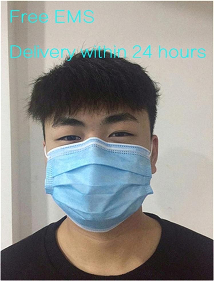 Jetable Visage Masque 3 couche Earloop bouche masques Couverture 3-plis Non-tissé jetable Antipoussière masque doux respirant masques