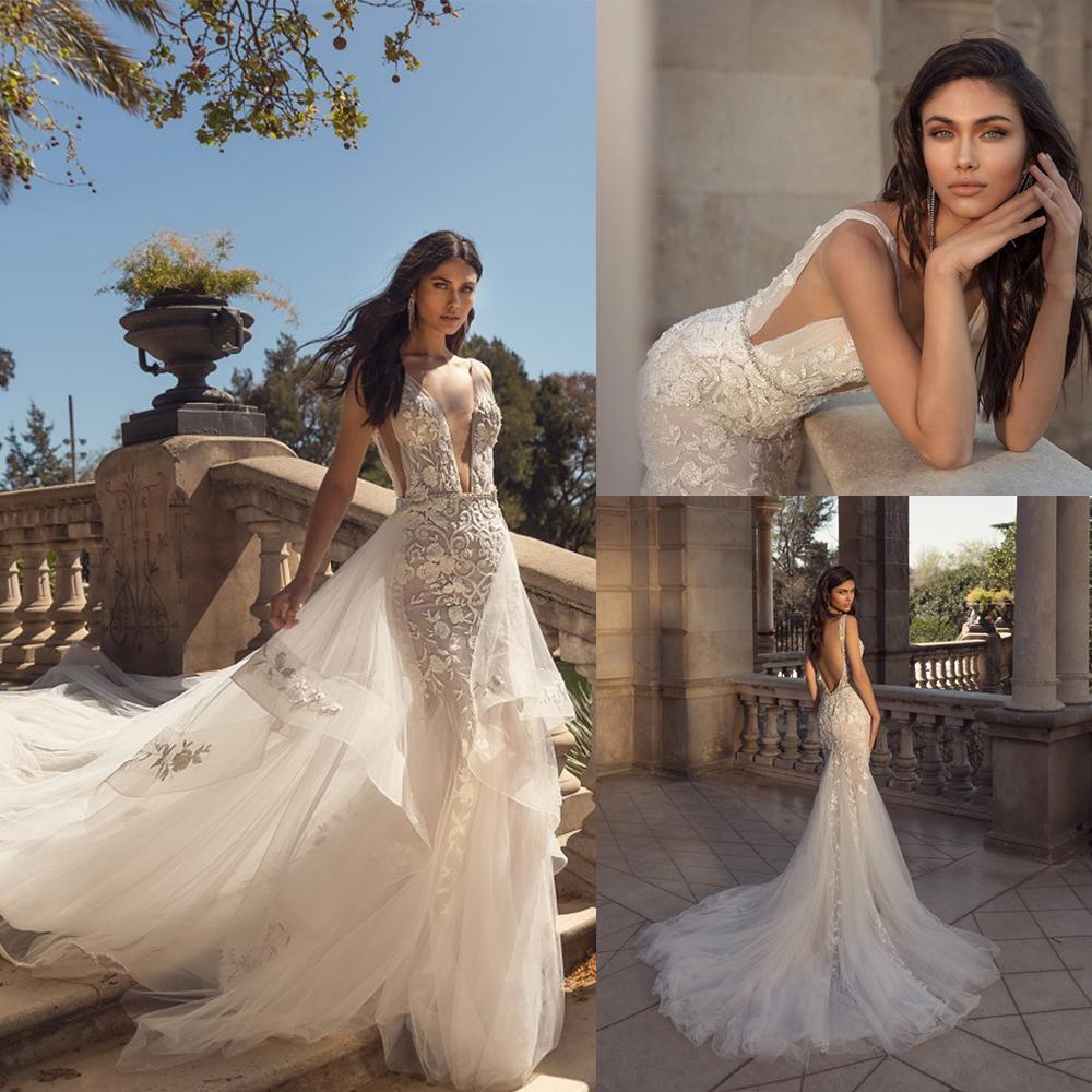 2020 Julie Vino Mermaid Brautkleid mit abnehmbarer Zug mit V-Ausschnitt Appliqued wulstige Brautkleid Backless Rüsche Lendenwirbel Vestidos De Novia