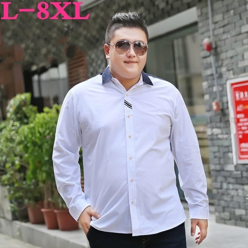 NEW 8XL 7XL 6XL 5XL марка лето весна люди Королевского Стиль Твердые Цветочные Вышитые Твердые рубашки Slim Fit Повседневная рубашка с длинным рукавом
