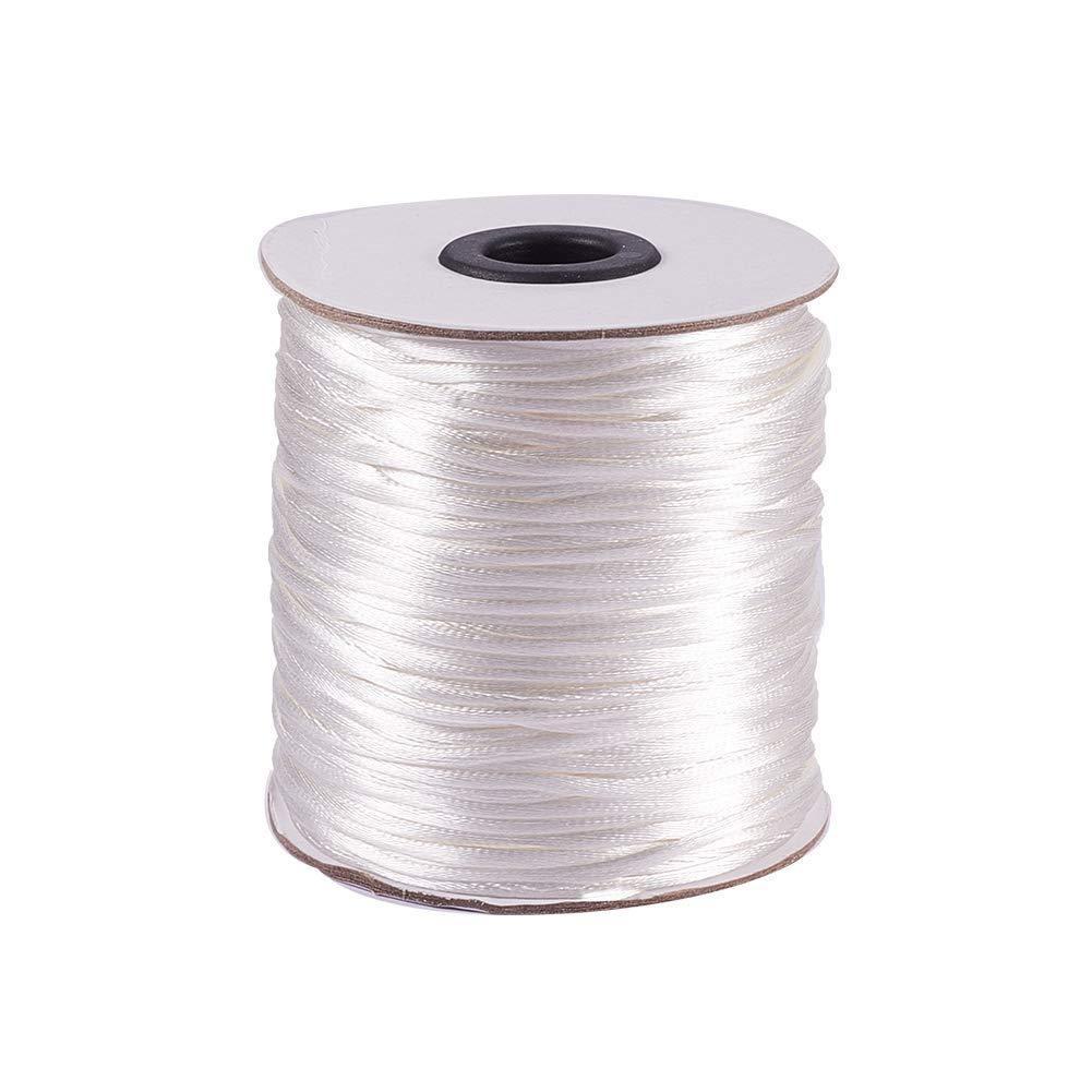 Elite 1 Rouleau 100 Mètres 2mm Rattail Nylon Garniture Cordon Noeud Chinois Kumihimo String Blanc