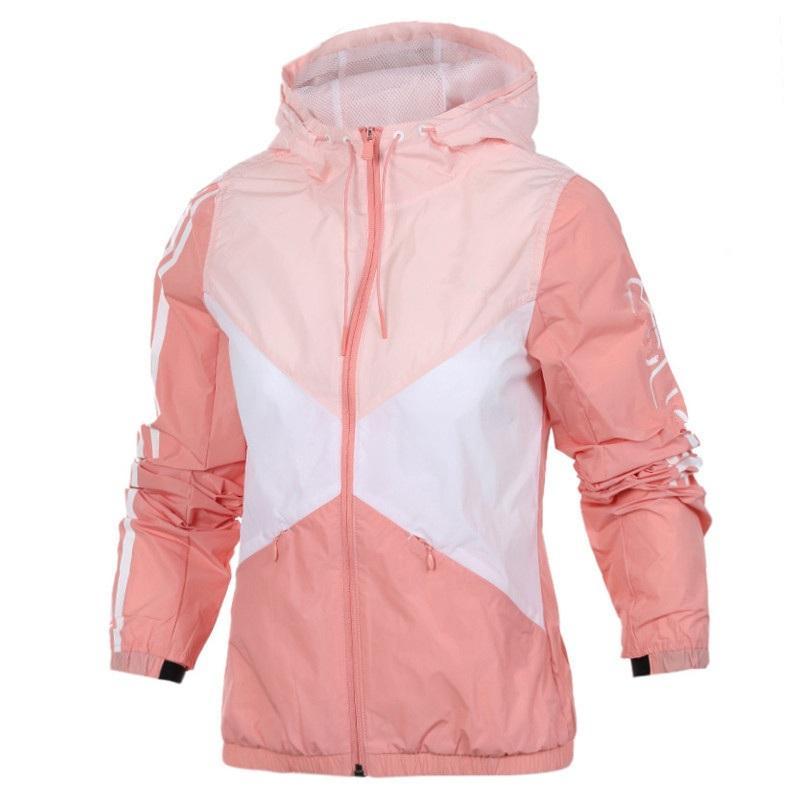 Kadınlar Spor Ceket İnce Markalı Windbreakers İlkbahar ve Sonbahar Artı boyutu Spor M için 2 Renkler Femme Kapşonlu Windrunner - 3XL