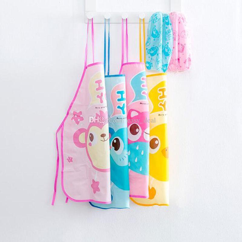 Дети дети мультфильм Сова утка фартук манжеты комплект кухня искусство выпечки живопись передник рукав ПВХ водонепроницаемый фартуки QW9655