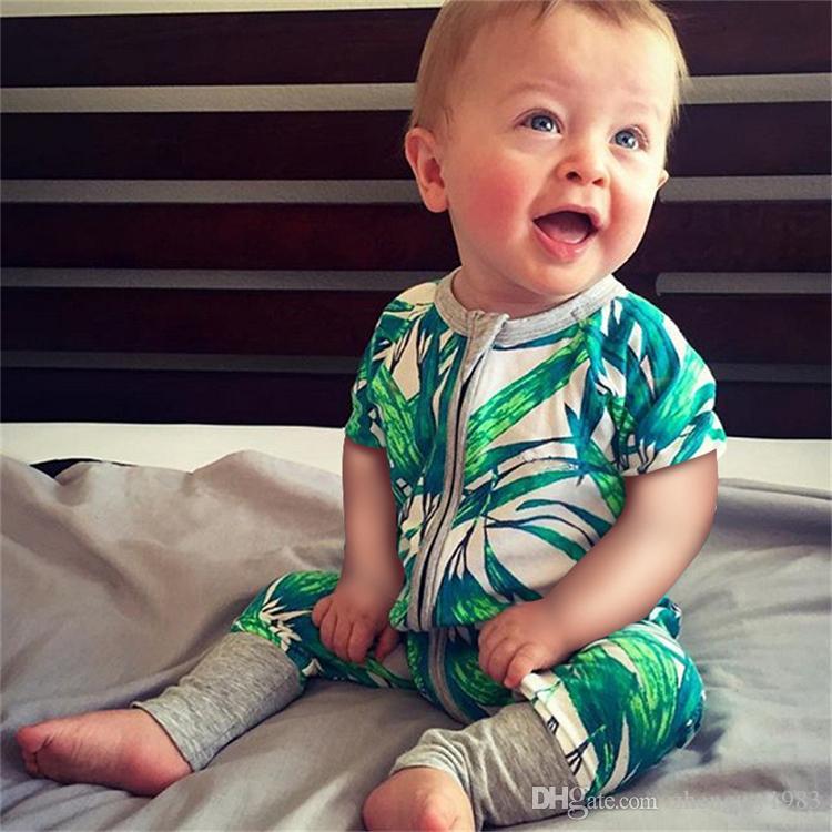 Babyspielanzug 34 Arten Babyjungen Strampler Kinder ins Karikaturblumen kurze Ärmel Reißverschluss Strampelhöschen Babykleidung 0-3 Jahre FJ90