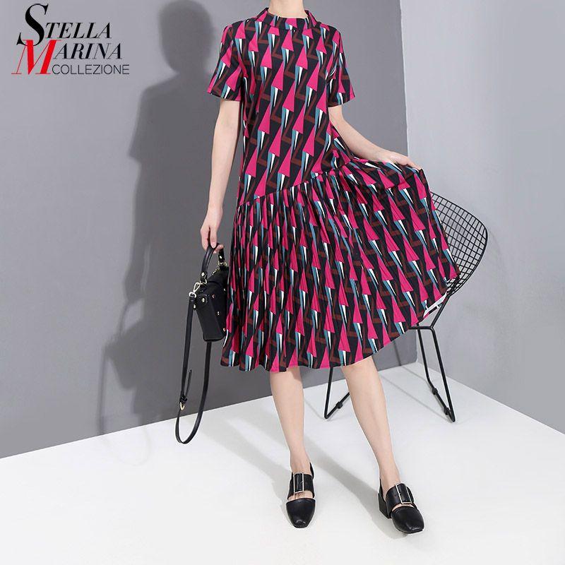 Neue 2020 koreanische Frauen arbeiten Sommer-Kleid roten Kleid geometrisches Muster gedruckt Damen Stilvolle Midi Partei Kleidungsstil 6182
