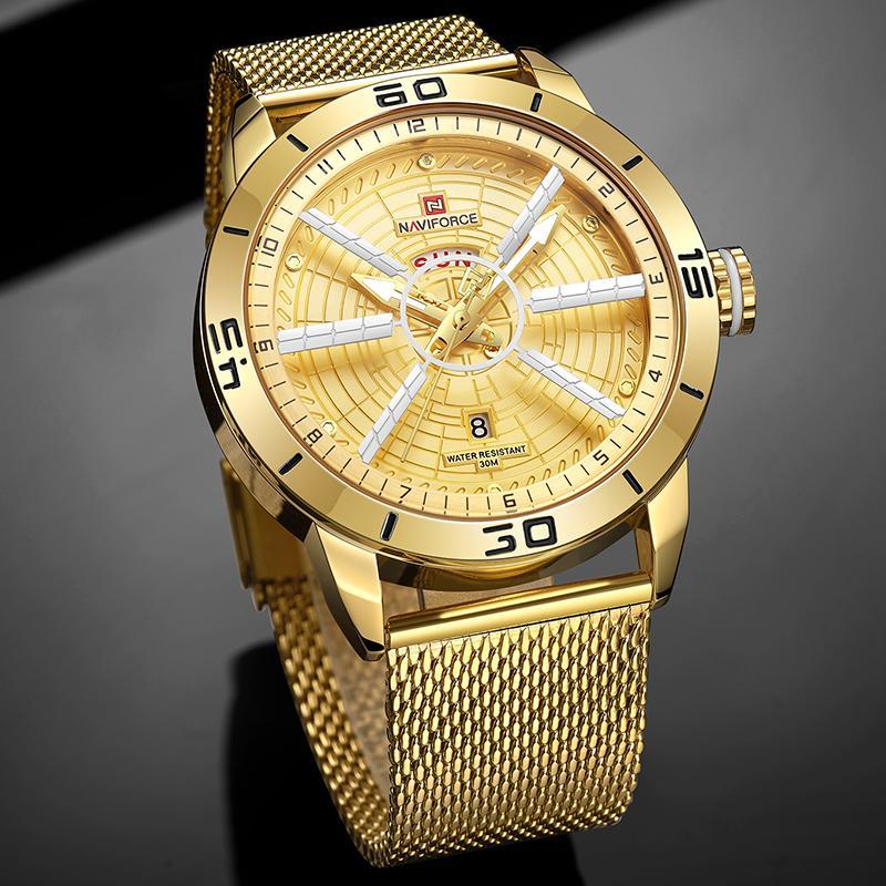 Montres Hommes NAVIFORCE Mode Sport Hommes Quartz Bracelet Or Montre-bracelet en acier étanche Horloge Homme Relogio Masculino