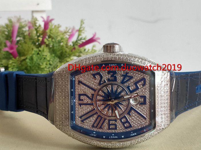 بيع أعلى جودة للرجال الرياضة الساعات الفاخرة جمع الخامس 45 SC DT اليخوت الفضة الماس حالة الأزرق الهاتفي التلقائي للرجال ووتش بلو