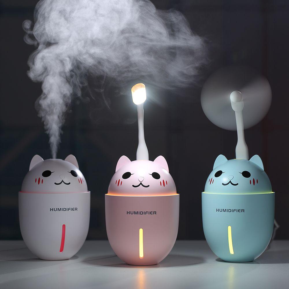 320ML USB Air Humidifier Ultrasonic Cool-Mist Adorable Pet Mini Humidifier With LED Light Mini USB Fan