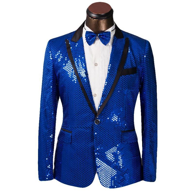 Блестящий синий блесток жених смокинги пик лацкан одна кнопка мужчины свадебное платье мужчины бизнес Darty петь хозяин Performan одежда (куртка+брюки+галстук) 36