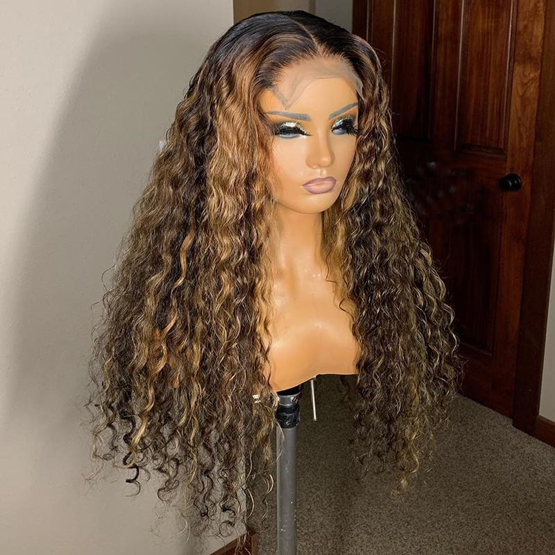 Honey Blonde Ombre puntos más importa marrón rizado del frente del cordón pelucas de pelo humano con el bebé de pelo naranja de Brasil 360 Cierre frontal peluca para mujeres Negro