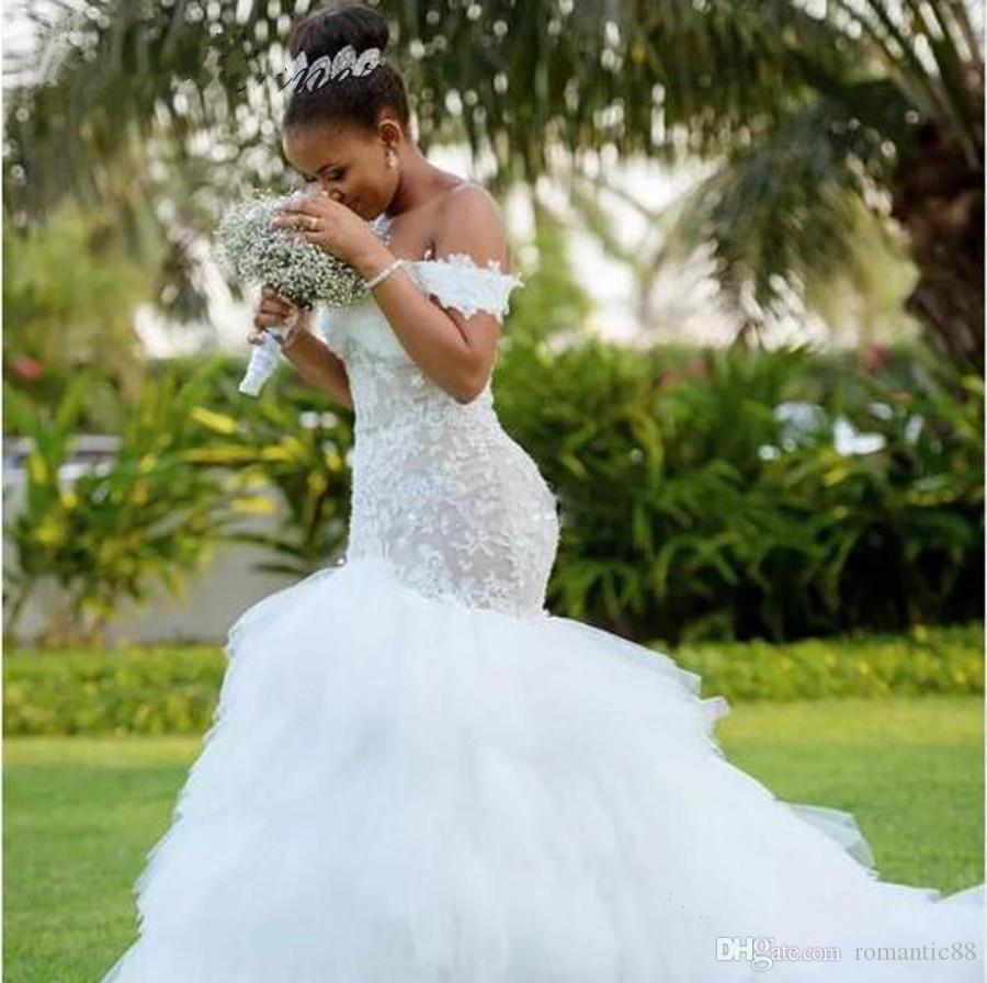 술 기차 아프리카 인어 웨딩 드레스 2019 돌아 가기 자수 트럼펫 레이스 웨딩 드레스 캡 슬리브 레이스