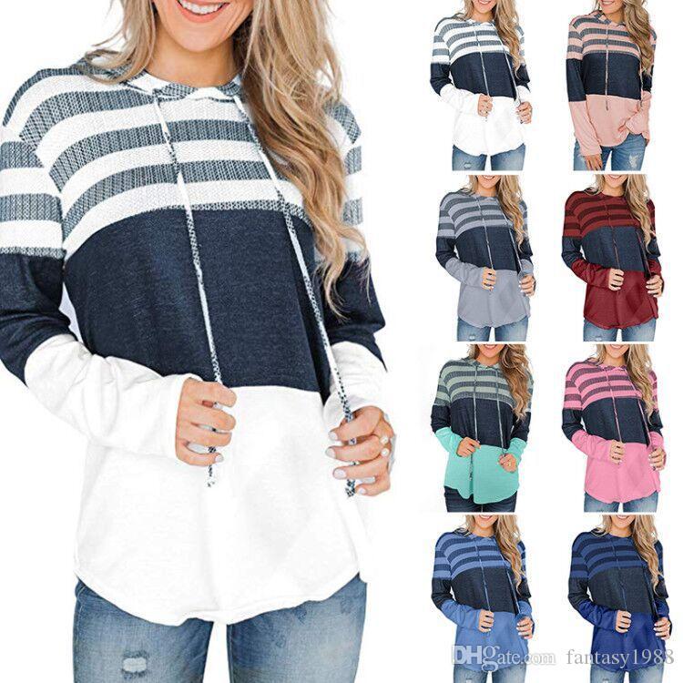 Девушки Толстовки Мода Женщины пуловер вскользь осень с капюшоном Толстовка Сыпучие Толстовка с длинным рукавом С Hat 8 цветов