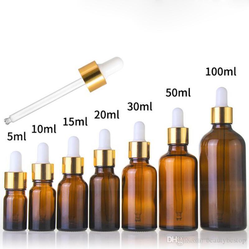 الجملة 5ML 10ML 15ML 20ML 25ML 30ML 50ML 100ML العنبر الزجاج زجاجة بالقطارة زجاجات مستحضرات التجميل فارغة للمن الضروري النفط