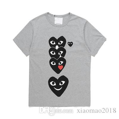 2019 wholesale high Quality Hot HOLIDAY Red camouflage Heart Emoji t shirt Polka Dot With Upside Down Heart T-Shirt (White)