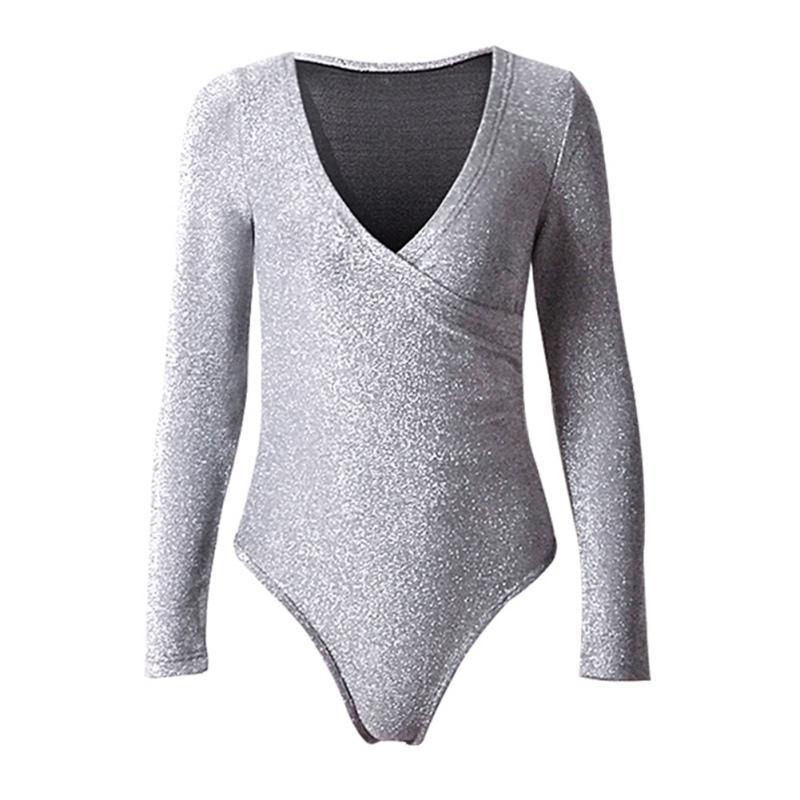 Женщины Осени Комбинезоны Sexy Bodysuit V-образный вырез Bodycon Повседневного высокая талия с длинными рукавами Solid Color Эластичного Bodysuit