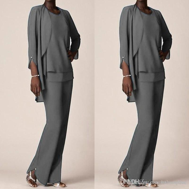 Grey Chiffon Formal Pant Suits For Mother Groom Dresses Evening Wear Long Mother of the Bride Dresses With Jackets Plus Size Custom Made