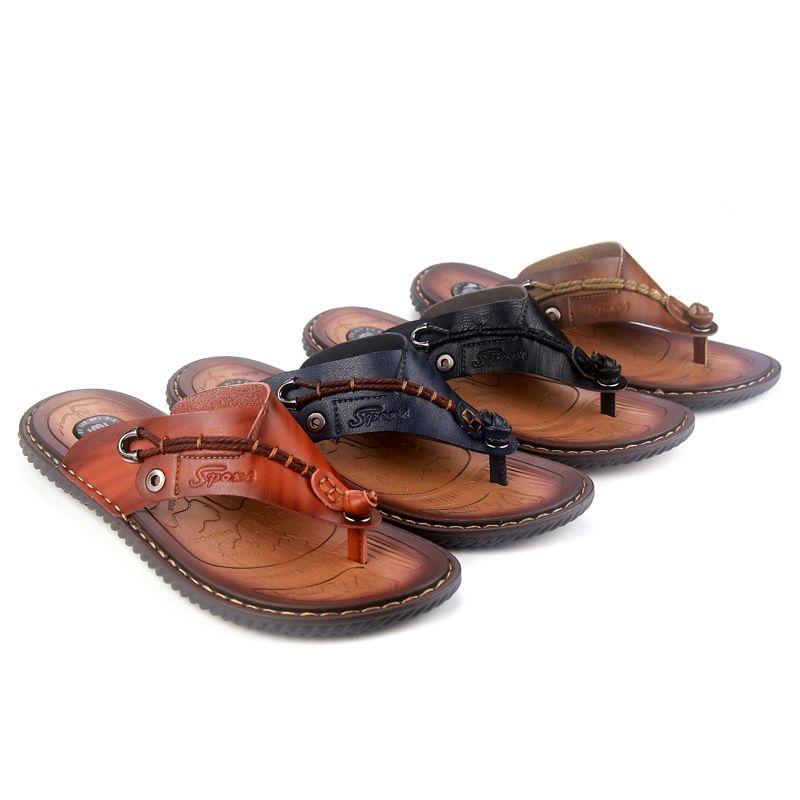 Summer Genuine Leather MEN'S Slippers Men's England Versatile Hot Selling Flip-flops Korean-style Trend Youth Sandals Sandals Me