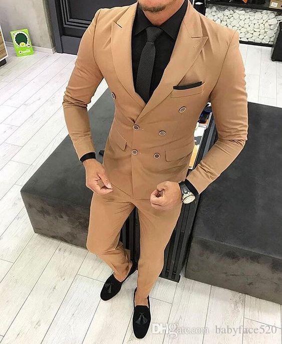 두 조각 브라운 남자는 결혼식 신랑 턱시도 더블 브레스트 재킷 SLI는 맞춤 자켓 바지 최신 남성 의류 정장