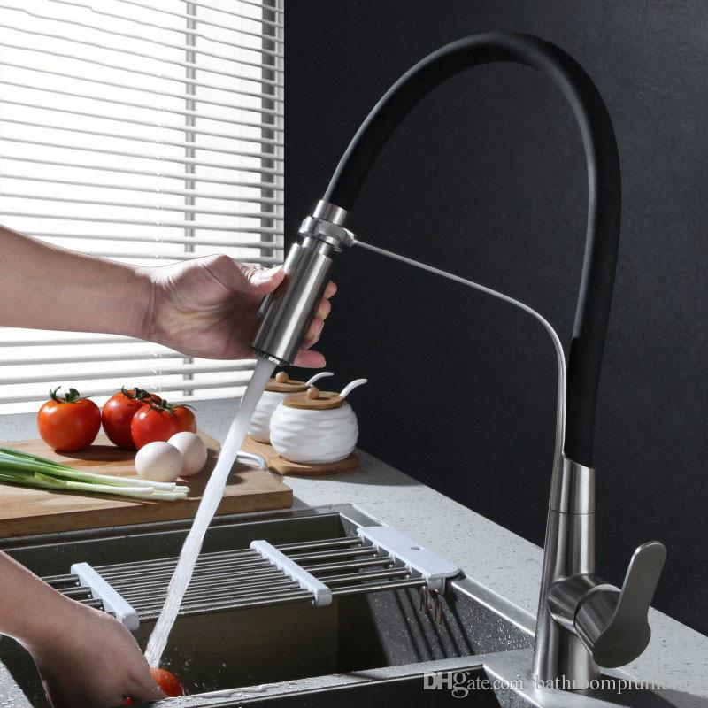Edelstahl Schwarz Schlauch Küchenarmatur Doppelfunktionen Sprayer Herausziehen Küchenwasser Mischer Gebürstet Wasserhahn Ware Weiß Rot Grün