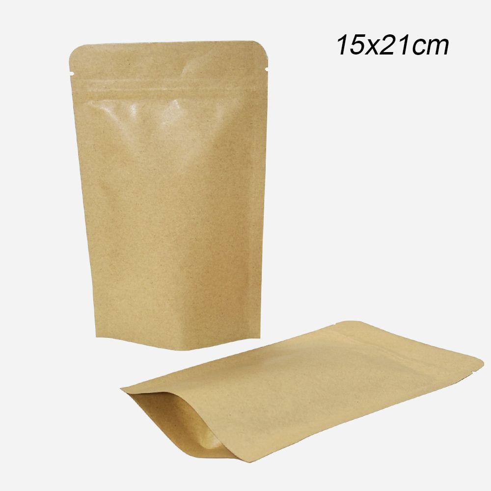 50pcs / lot Doypack Zip Lock Stand Up Kraft Sacchetto di carta di calore Sealable Cibo Secco Giuggiola Sacchetto di grano Sacchetto di odore Sacchetto 15x21 cm