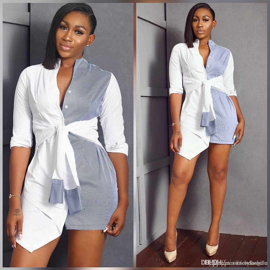 Sexy Womens Summer Shirt Skirt Panelled Striped Long Sleeve Shirts Dress Fashion Lady Sashes Causal Long Blouses Women Clothing