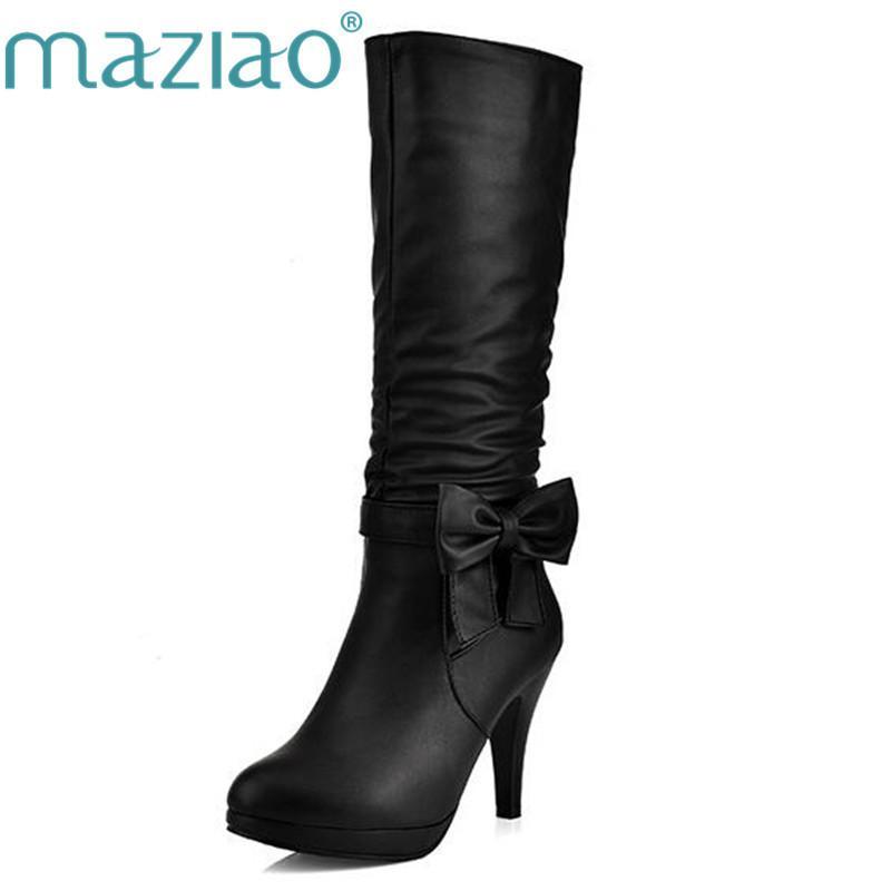 MAZIAO 2016 Plus Size 34-43 Frauen-Spitzen-Absatz-runde Zehe Knie-Frau Schuhe Weibliche Stiefel Schwarz Weiß Rosa Blau MX200324