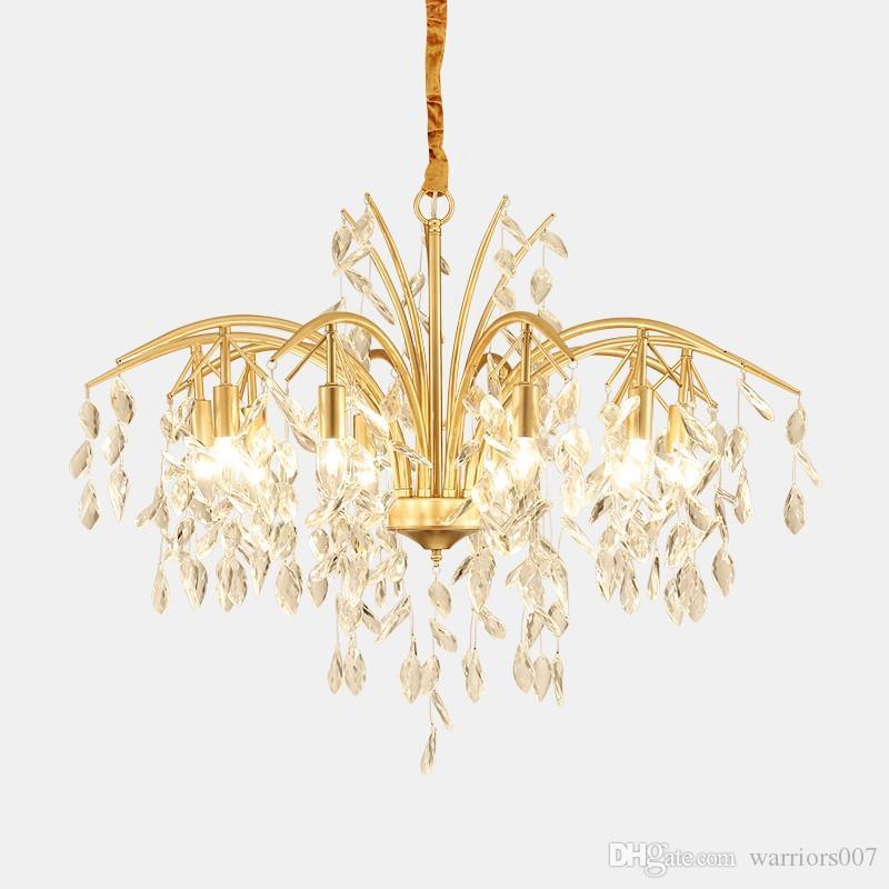 2020 الحديثة LED كريستال قلادة أضواء الثريا مصباح لغرفة الطعام مطبخ ضوء بريق الثريا الإضاءة droplight