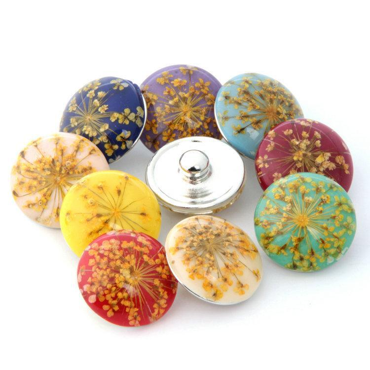 18mm-20mm Noosa amber Flower Snap button diy charms Fit 18-20mm Snaps Bracelets and necklace