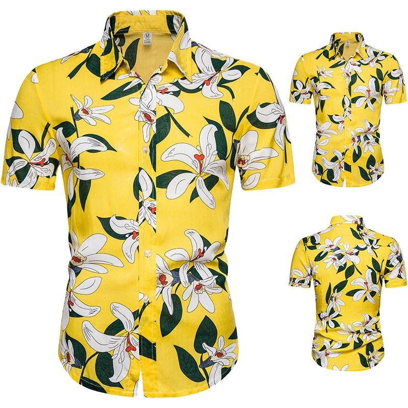 Brand Yellow Hawaiian Shirt Men Flower Print Short Sleeve Cotton Men Casual Slim Fit Dress Shirts Chemise Homme camisa masculina