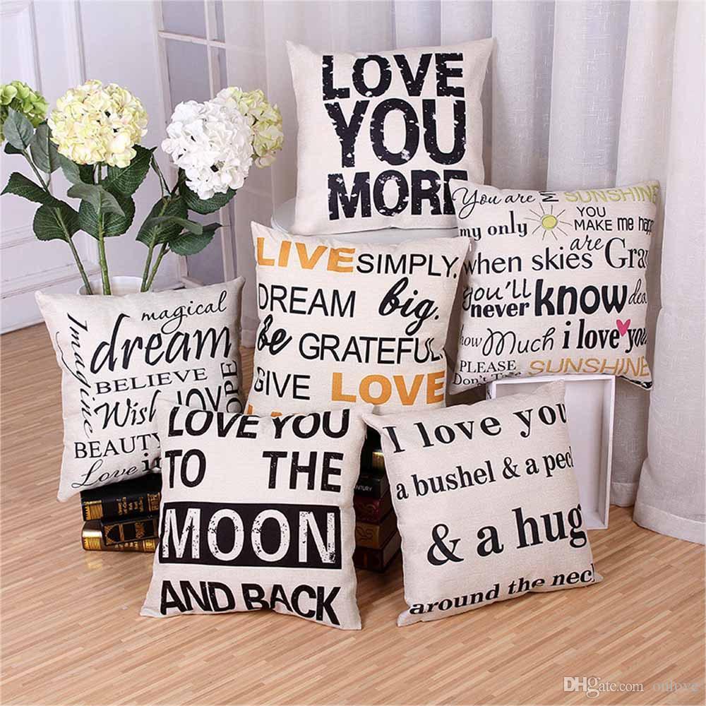 رسالة أنت مشمس أنا أحبك وسادة القضية غطاء وسادة الكتان رمي سادات أريكة وسادة يغطي هدايا عيد الميلاد 18 * 18 بوصة XD20783