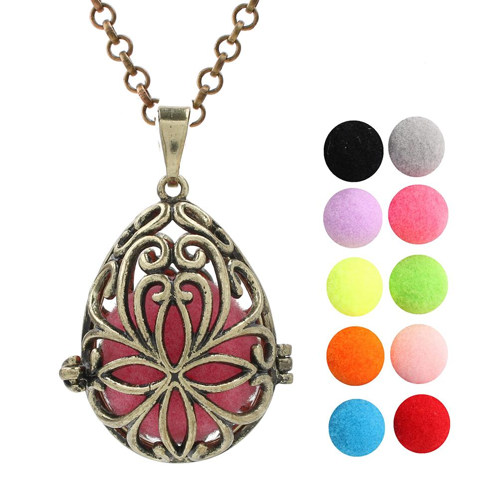 Antique Bronze Waterdrop Lava Beads Cage Angel Bola Mexican Chime Ball Pendant Essential Oil Pendant Aromatherapy Diffuser Ball Necklace