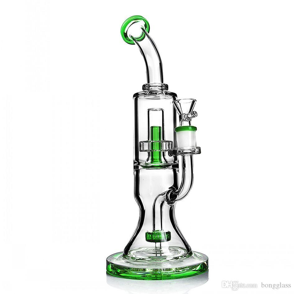 큰 유리 봉지 흡연 파이프 버블 러 재활용 봉지 굴착기 두꺼운 유리 물 봉지 14mm 그릇 담배 물 담뱃대와 dabber