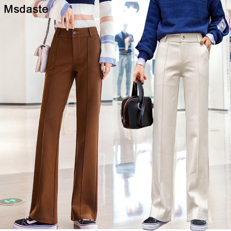 Roupas Femininas Capris lã ampla mulheres perna incendiar calças 2019 inverno cintura alta Pantalon calças femininas casuais sólidos a granel