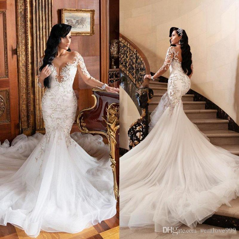 Saudi Arabia Mermaid Wedding Dresses Scoop Neck Long Sleeve Lace Applique Beaded Bridal Gowns Plus Size Sweep Train robes de mariée