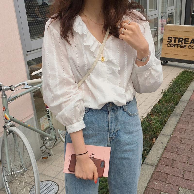la mode 2020 nouvelle nouvelle niche de style occidental col de chemise des femmes à manches longues à volants shirtDoll shirtfairy 2020 mode Kj2Lw Ouest-styl 3rJNq