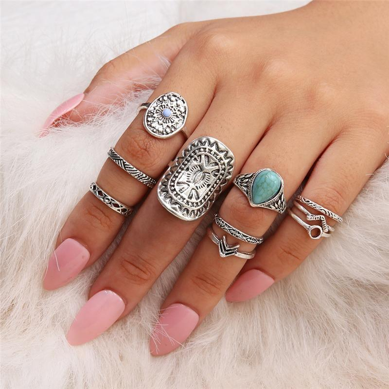 Vintage Frauen Mid Ring Sets Blume Liebe Herz Strass Joint Knuckle Nail Midi Ring Set